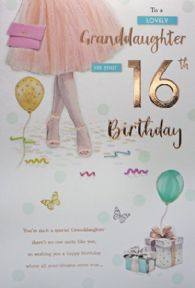 Lovely Granddaughter 16th Birthday Card